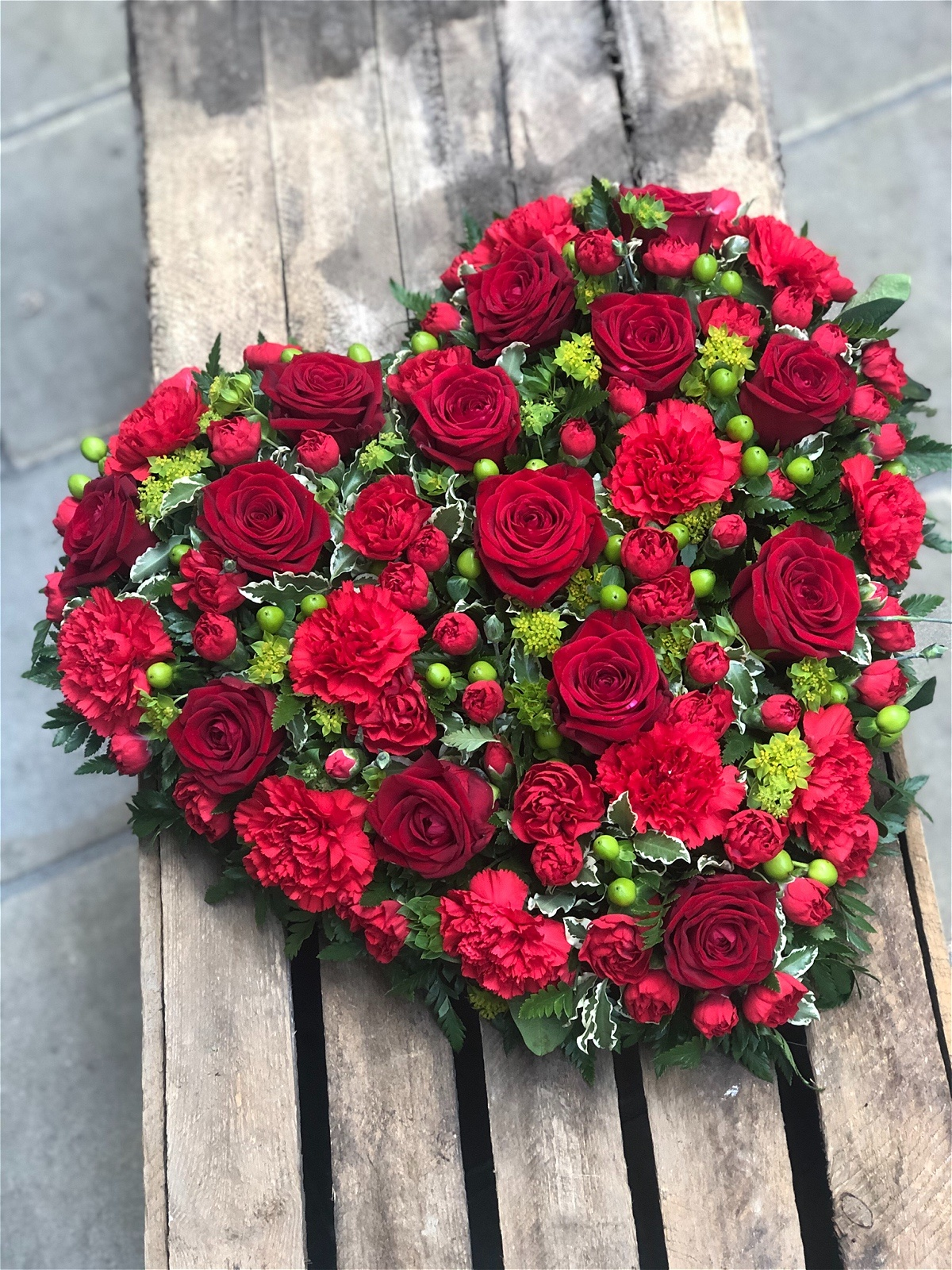 Red Rose And Carnation Heart Vanilla Blue Flowers